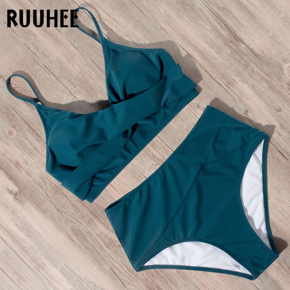 RUUHEE Swimsuit Woman High Waist Bikini 2021 Women Leopard Solid Bathing Suit Swimsuit Female with Pad Push Up Swimwear Women