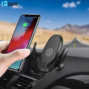 DCAE Wireless Charger Qi 15W Quick Charge Car Mount Phone Holder for iPhone 11 Pro XS XR X 8 Fast Charging For Samsung S10 S9 S8