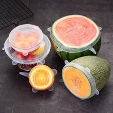 6 pcs Silicone stretchable fresh cover universal bowl sealing film multi-purpose fresh-keeping