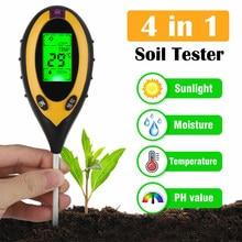 5-em-1 medidor de ph do solo digital níveis de ph temperatura intensidade da luz solar umidade tester para semeadura de planta de jardim