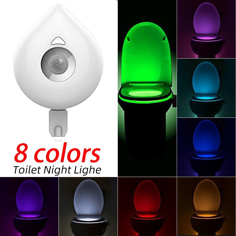 SNEWVIE Toilet Light Smart Motion Sensor Toilet Seat Night Light 8 Colors Changeable  Waterproof WC Lamp