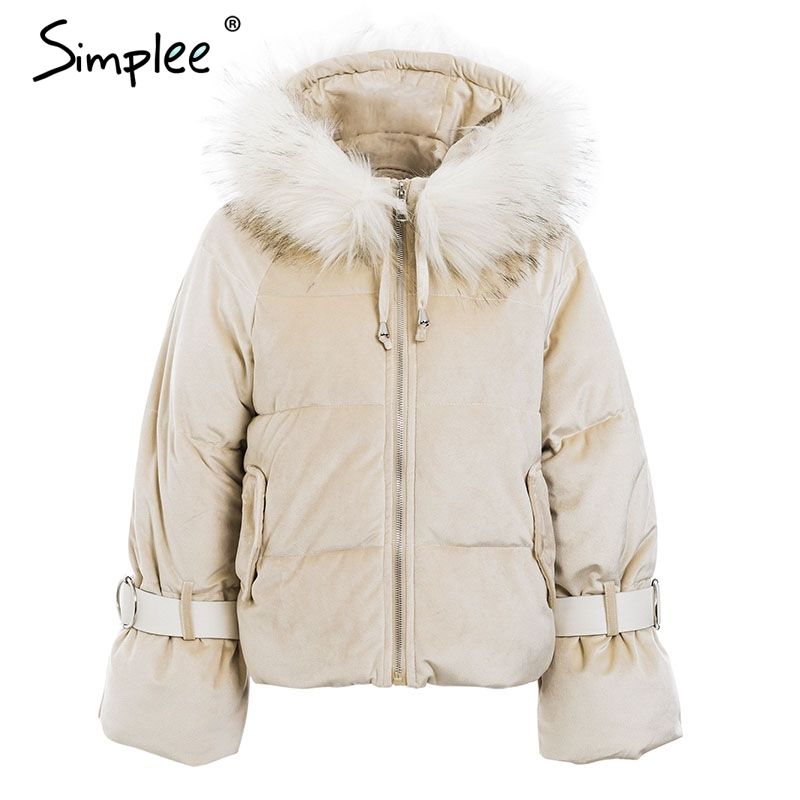 Simplee Elegant Hooded Fur Colllar Women Parkas Coat Winter Zipper Belt Lace Up Cotton Warm Coat Gold Velvet Thicken Outwear