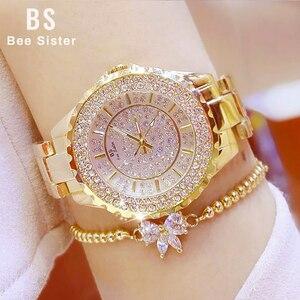 Image 1 - BS Bracelet de marque pour femmes, Montre Bracelet de luxe pour dames, strass, cristal, robe, Quartz