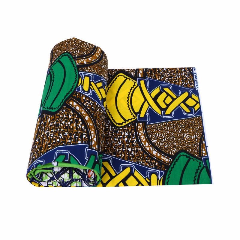 2019 Latest Design African Fashion Yellow & Green Print 100% Cotton Veritable Ankara Guarantee Real Dutch Wax Java