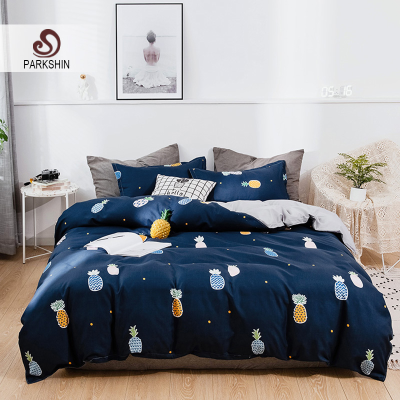 ParkShin Pineapple Bedding Set Bedspread Bed Flat Sheet Pillowcase Duvet Cover Double Queen King Single Carrot Green Flat Sheet