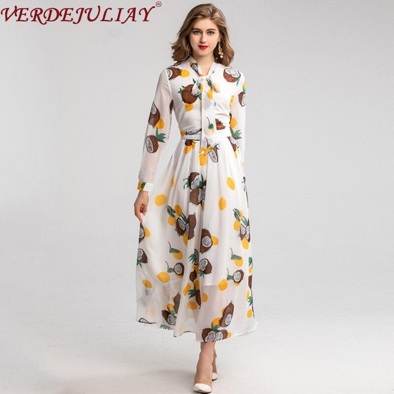 VERDEJULIAY Spring Autumn Fashion Runway Dress Women's Long Sleeve Bow Luxury Flower Print White Slim Elegant Dress 2020