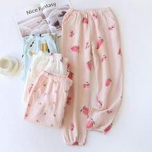 Новые парные штаны из 100% хлопка и крепа для сна Новинка пар