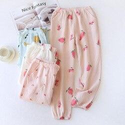 New Couple 100% Cotton Gauze Crepe Sleep Pants New Couple 100% Cotton Gauze Crepe Sleep Bottoms Pajama Shorts Womens Bottoms