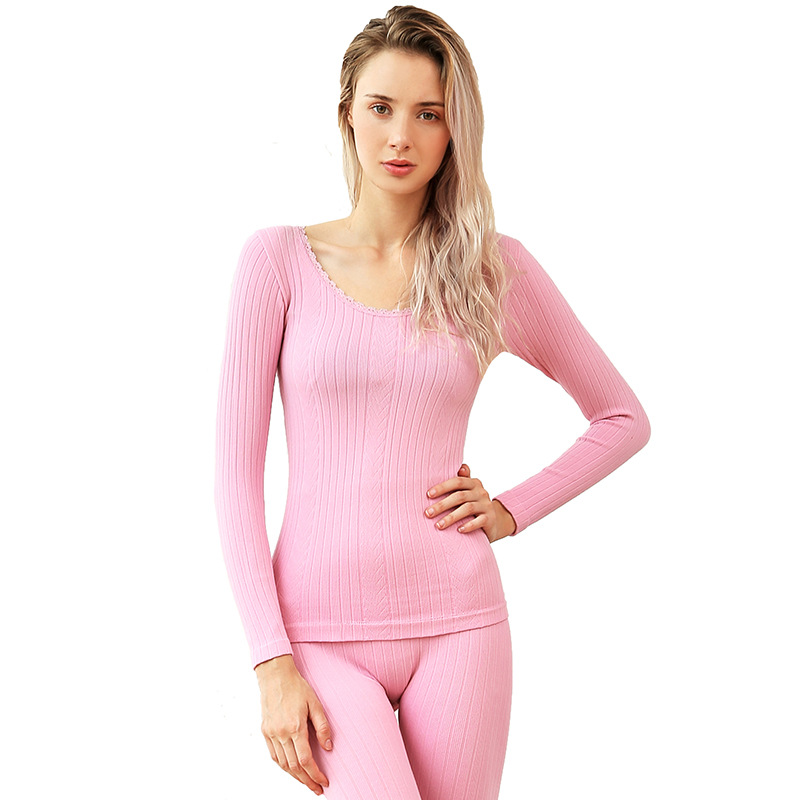 Soft Women's Long Johns Autumn Winter Cotton Warm Thermal Underwear Suit Stretch Striped Seamless Shape Slimming Underwear Sets