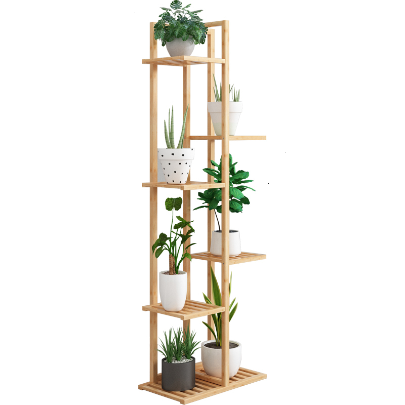 Multi-storey Indoor European Style Balcony Shelf Household A Living Room Decorate Solid Wood Quality Flowerpot Frame To Ground
