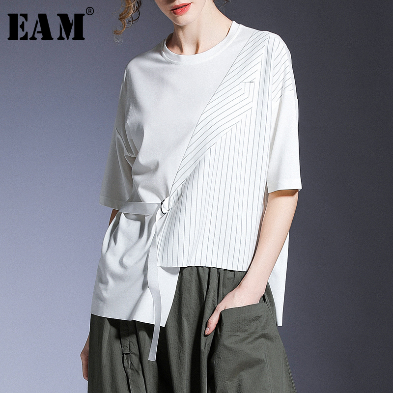 [EAM] Women White Striped Asymmetrical Big Size T-shirt New Round Neck Half Sleeve  Fashion Tide  Spring Summer 2020 1T731