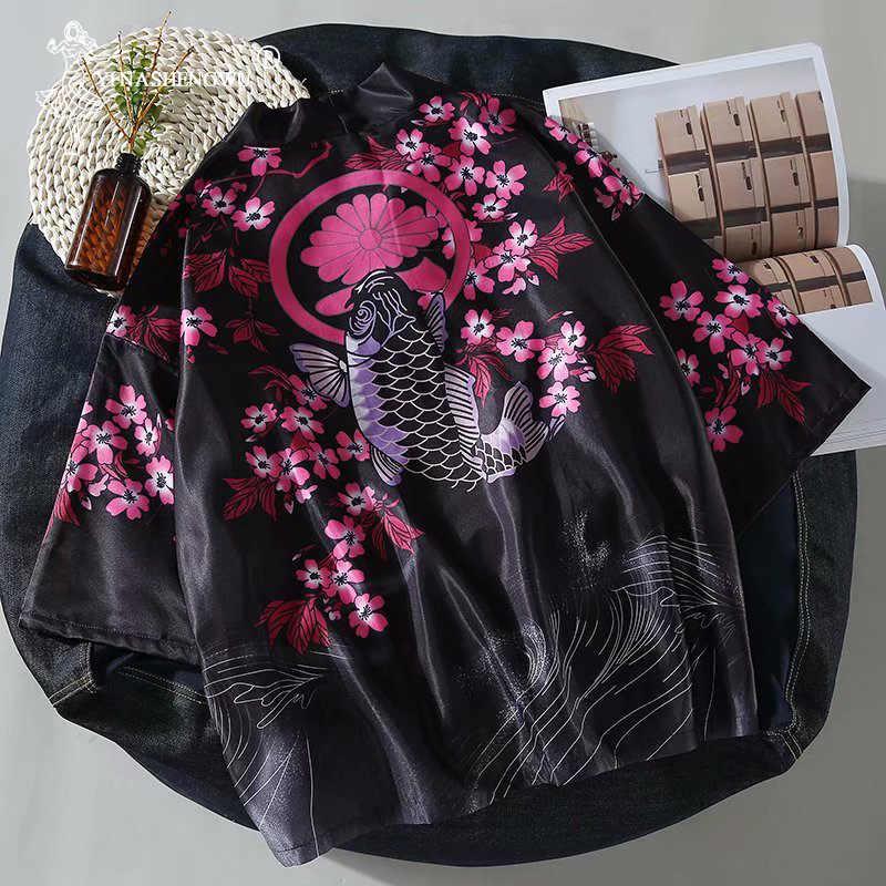 Cárdigan Harajuku para mujer Kimono japonés de verano con estampado de carpa camisa suelta blusas casuales para mujer hombre Kimonos abrigo pareja Yukata Kimonos