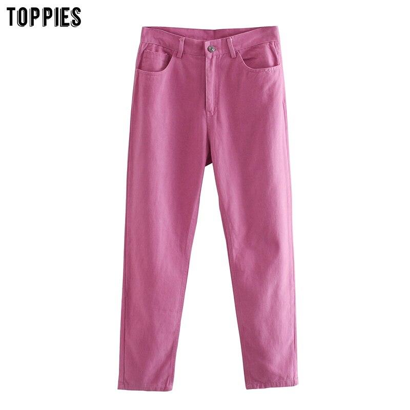TOPPIES 2020 женские брюки из хлопка длинные брюки с высокой талией Прямые брюки уличная одежда