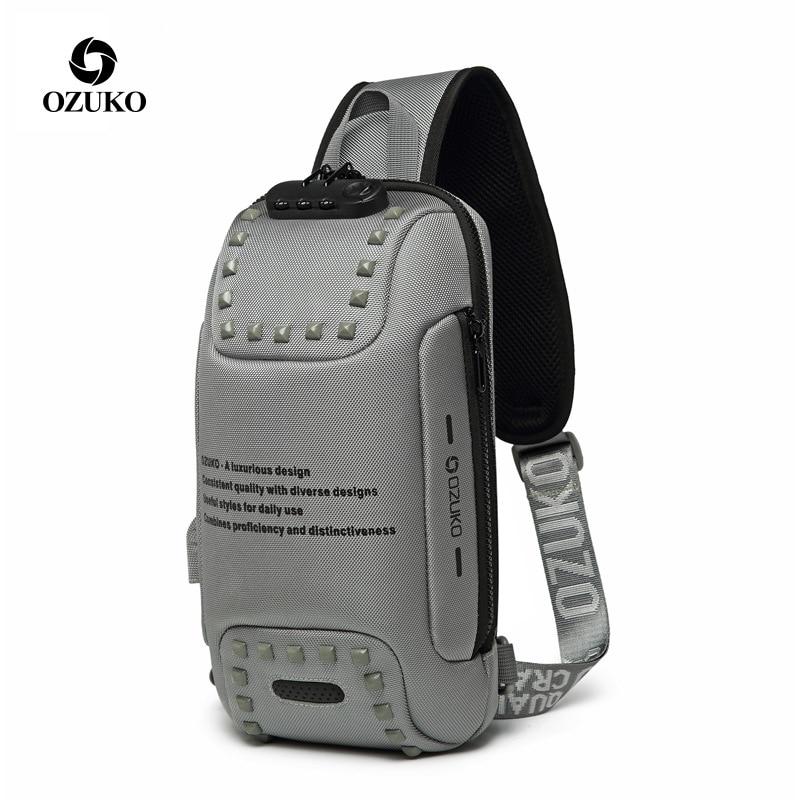 OZUKO Shoulder Bag Men USB Waterproof Messenger Bag Chest Pack Anti-theft Lock Crossbody Bags For Men Sling Bag Fit 9.7