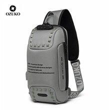 "OZUKO Shoulder Bag Men USB Waterproof Messenger Bag Chest Pack Anti theft Lock Crossbody Bags for Men Sling Bag Fit 9.7"" iPad"