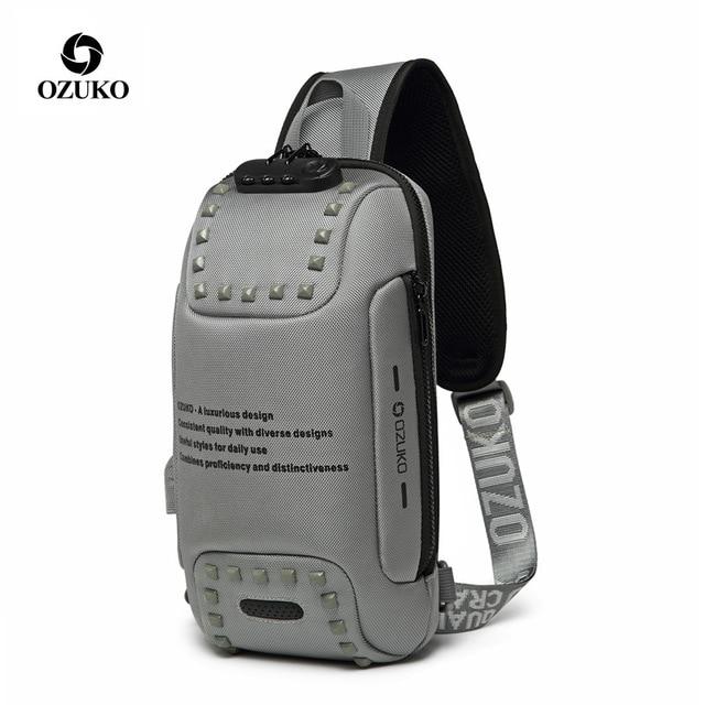 """OZUKO תיק כתף גברים USB עמיד למים שליח תיק חבילת חזה נגד גניבת נעילת Crossbody שקיות לגברים קלע תיק fit 9.7 """"iPad"""