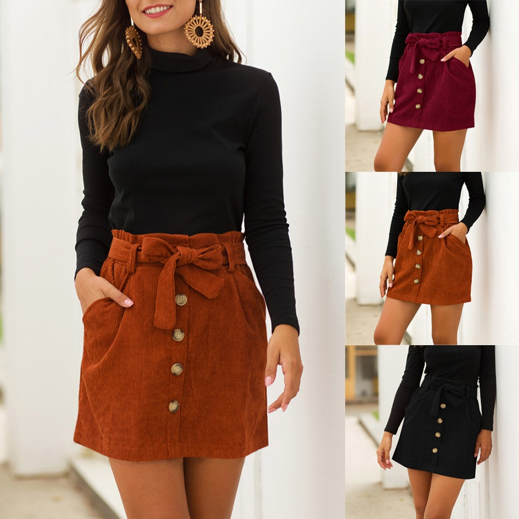 Skirts Women Spring Corduroy Hight Waist Pocket Button Bow Skirt Elastic Short Skirt Summer Fashion Lady Club Skirts Mujer