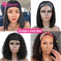 Pelo AliPearl recto peluca con diadema pelucas de cabello humano para las mujeres negras pelo brasileño rizado pelucas de cabello humano sin costuras Bob corto 2 pelucas