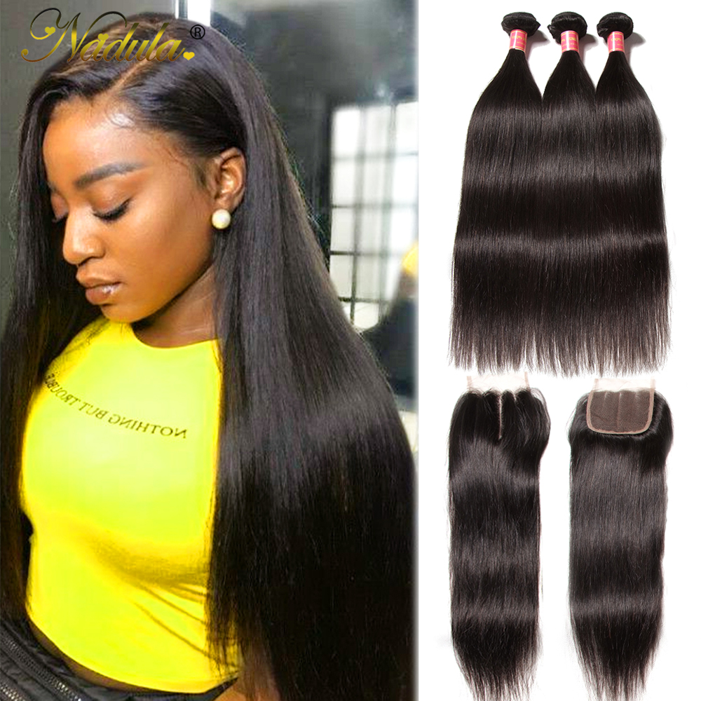Nadula Hair Indian Straight Hair Bundles With Closure 3 Bundles With Closure 100% Remy Human Hair Closure With Bundles