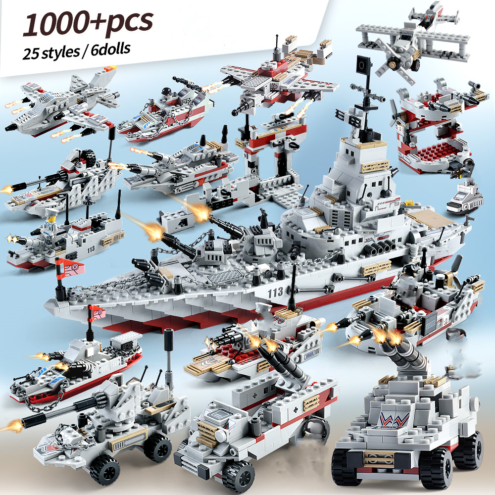 New <font><b>1000</b></font>+ <font><b>Pcs</b></font> Military Warship Building Blocks Model Navy Aircraft Army Figures Weapon Bricks Figures Kids Toys Gifts image