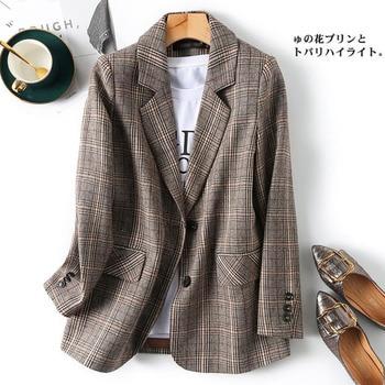 PEONFLY Vintage Single Breasted Office Ladies Plaid Blazer Long Sleeve Loose Plaid Coat Jacket Women Blazers Female 2021 1