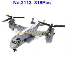 2113 318 Шт Военный колокольчик v-22 osprey самолет истребитель строительные блоки игрушки