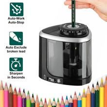 Tenwin Electric/Manual 2 in 1 Pencil Sharpener Safe Student Helical Steel Blade Sharpener Kids Adults Supplies Colored Pencils