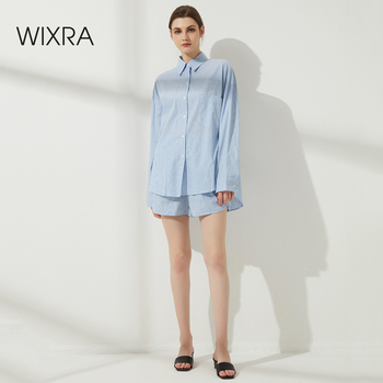 Wixra Womens Striped Blouse Sets Street Style Turn Down Collar Pocket Shirts+ Elastic Waist Shorts Casual Clothing Summer 1