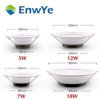 EnwYe 5W 7W 12W 18W LED downlight ceiling light AC 220V warm white \/ cool white no strobe indoor LED ceiling light