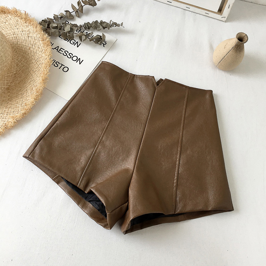 Zipper PU Leather Shorts Women Fashion Casual High Waist Short Pants Female Solid Vintage Straight Shorts Female Sexy Chic New