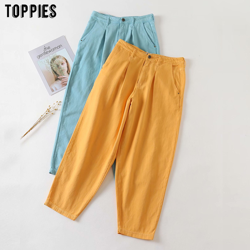toppies 2020 womens denim pants ankle length torusers high waist jeans pants solid color streetwear