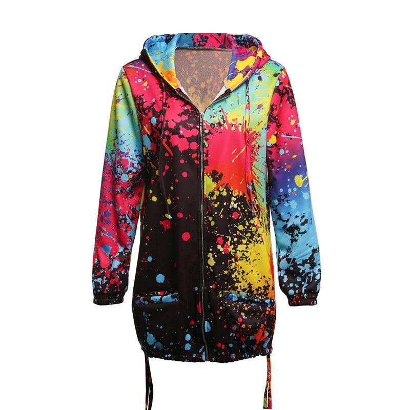 Hf3967f352b18488aaa6412e628d79938z Bomber Jacket Coat Women Colourful Tie Dyeing Print Pocket Zipper Hooded Sweatshirt Outwear Casual Windbreaker Slim Overcoat