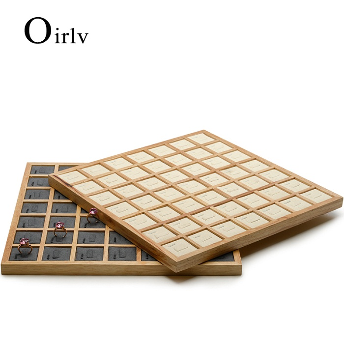 FANXI 2Pcs New Arrivals Jewelry Display Solid Wood Ring Display Tray For Jewelry Shop 2 Style Jewelry Tray For Choose