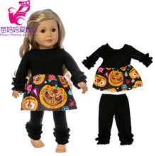 girl doll clothes Halloween pajama set fit for 43cm baby oufit 18 dolls pumpkin lantern pattern