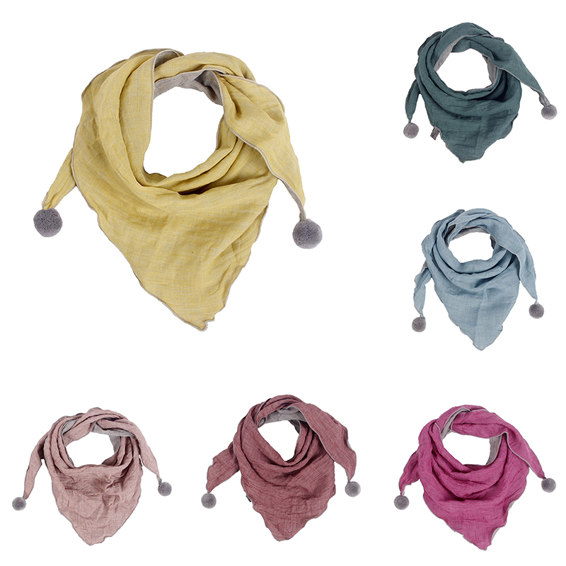 Baby Cotton Triangle Scarves Pure Color Autumn Winter Skin-friendly Soft Kids Neck Warm Bibs Scarf Simple Sweet Kids Scarf