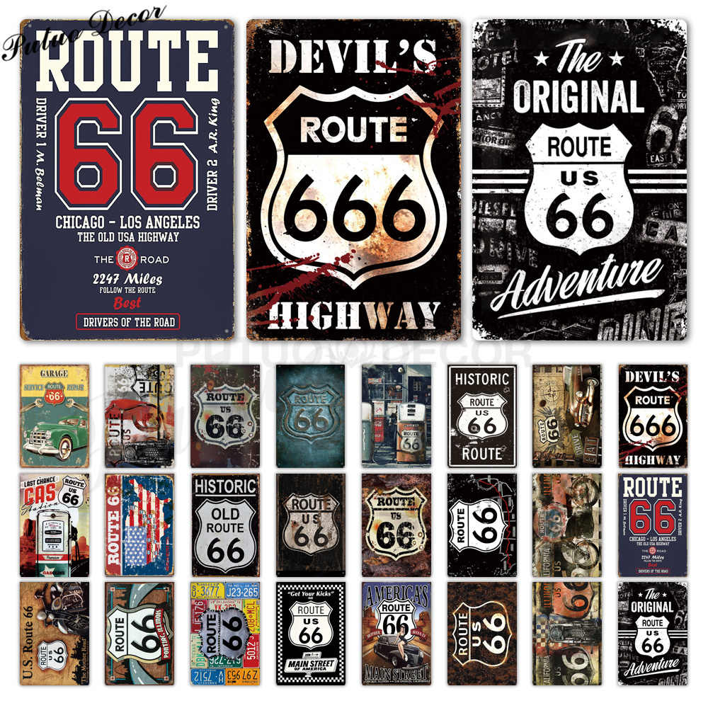 Route 66 Vintage Metal Sign Tin Sign Plaque Metal Vintage Retro Garage Wall Decor for Bar Pub Club Man Cave Gas Station