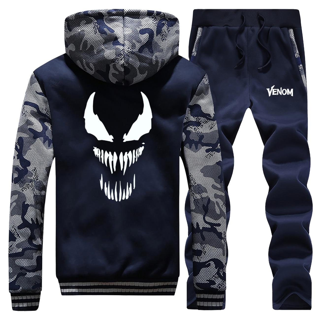 Venom Marvel Hot Sale 2019 Winter Mens Hoodies Camouflage Coat Thick Suit Long Sleeve Warm Jackets Sportswear+Pants 2 Piece Set