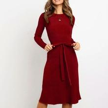 Elegant Women O-neck Long Sleeve Dress Casual Solid Slim Midi Dresses Autumn Winter Party