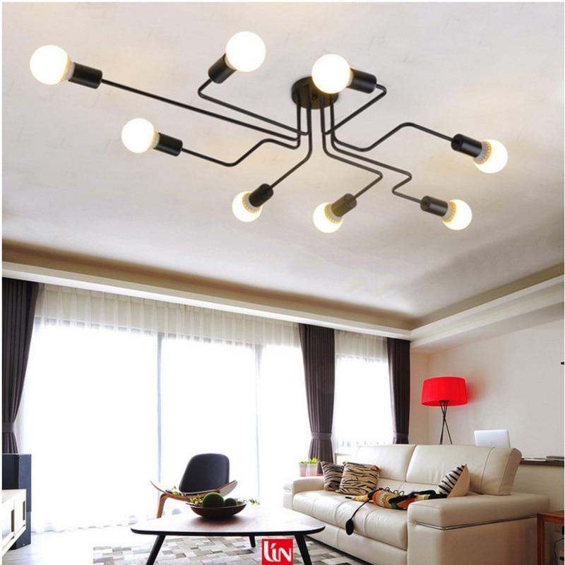 Современный светодиодный светильник, люстра из черного железа 4 6 8, Потолочная люстра, винтажная промышленная лампа для гостиной и спальни|Потолочные лампы|   | АлиЭкспресс