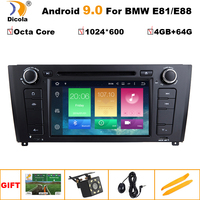 7 IPS 1024*600 4G+64G Android 9 Octa core Car DVD Player GPS for BMW E81 E82 E88 120 1 Series with Radio Wifi Nav Video System