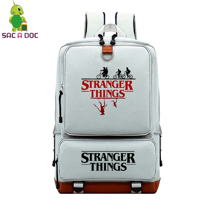 SAC A DOC Men Laptop Eastpack Women College Backpack, Casual Anti-theft Bags,Stranger things School Bag pack Teenagers Rucksacks image