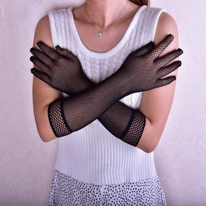 Theme Party Women's Sexy Mesh Fishnet Sunscreen Elbow Length Crochet Victorian Gothic Style Black Gloves ST310