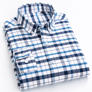 Image 1 - England Style Plaid Checkered Cotton Shirts Single Patch Pocket Long Sleeve Standard fit Button down Mens Casual Striped Shirt