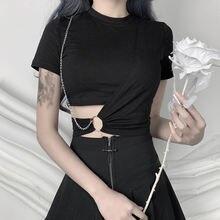 Женская футболка в стиле панк готика Харадзюку с цепочкой высокая