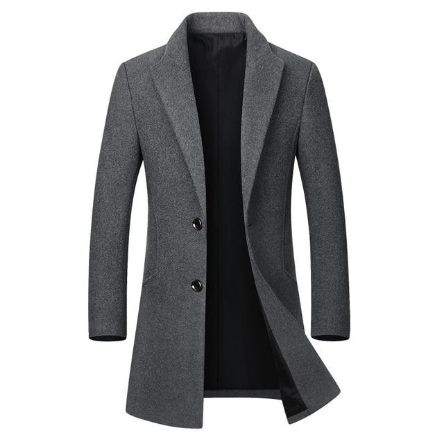 Winter Wool Jacket Men's High-quality Wool Coat casual Slim collar wool coat Men's long cotton collar trench coat 1