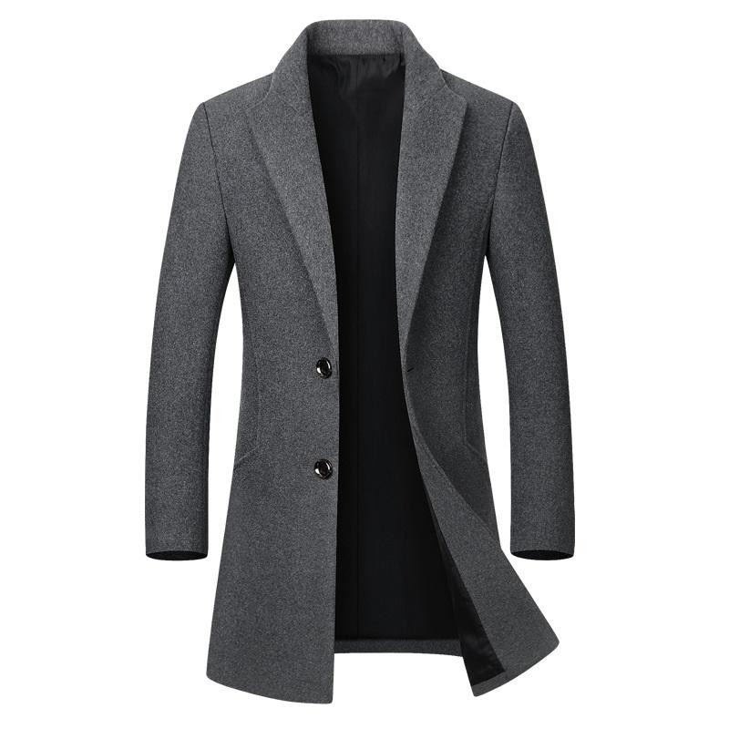 Winter Wool Jacket Men's High quality Wool Coat casual Slim collar wool coat Men's long cotton collar trench coat