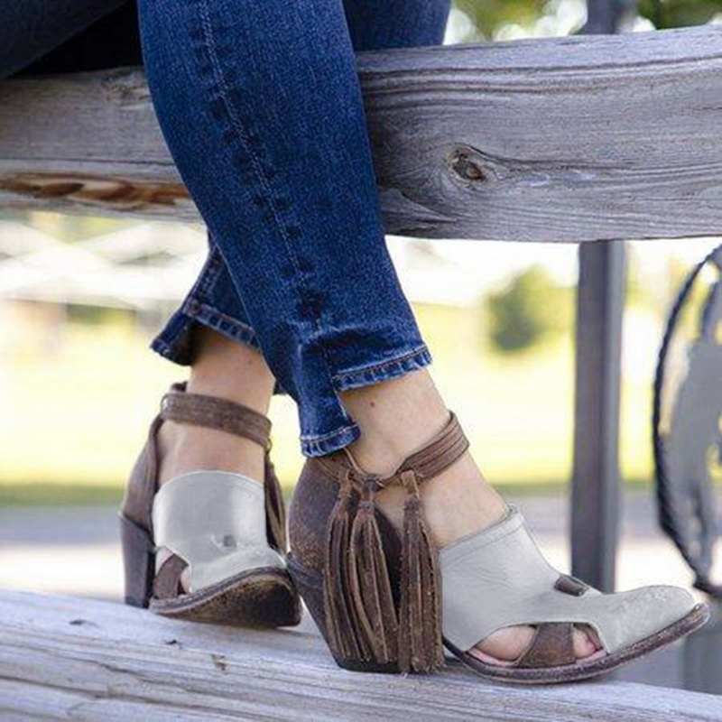 Women Fashion PU Leather Tassel Sandals Ladies Ankle Strap Breathable Shoes Female Pointed Toe High Square Heel Sandals 2019 New
