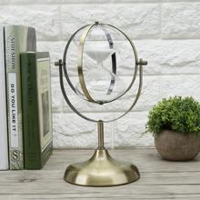Temporizador de arena Vintage giratorio reloj de arena de Metal reloj de arena de cristal para la decoración del hogar, regalo de boda de 60 minutos de reloj de arena.