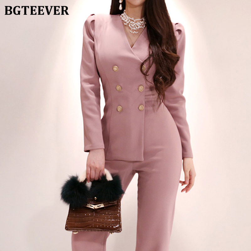 BGTEEVER Fashion V-neck Double-breasted Women Playsuits Irregular Slim Waist Rompers Ladies Business Wear Female Jumpsuits 2020