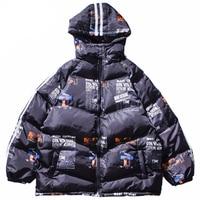Winter Jacket Coat Warm Outdoor Clothing Hip Hop Hooded Jacket Parka Graphic Print Streetwear Men Windproof Hoodie Harajuku